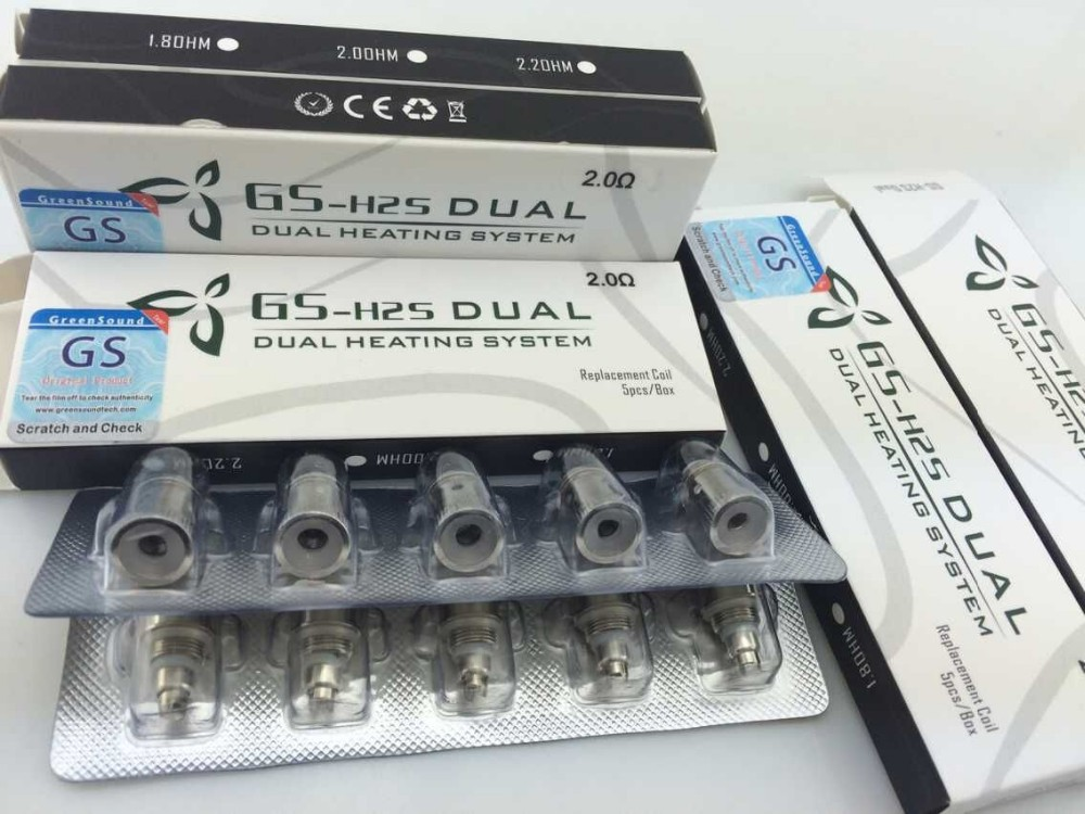 100 Pcs GS H2s Electronic Cigarette Replacement Atomizer dual Coil Updated Vaporizer Coil H2,mt3s,t3s,t3d,H2S/GS Vcore3