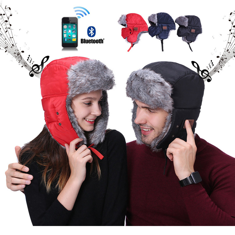 69e2a12e764 Winter Warm Skiing Cap Hat Electric Music stereo Windproof Warm Cap Pro Ski  Lithium Battery Heated Bomber Hat Thicken Fleece #2s