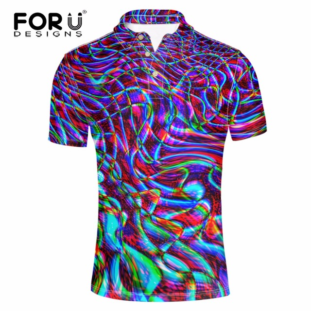 FORUDESIGNS Mode Hommes Slim Polo T-shirt Creative 3D Impression À Manches  Courtes Tops Tee