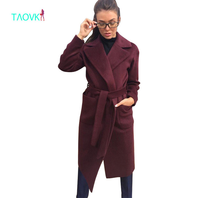 Taovk Для женщин шерстяные с длинным рукавом средней длины Зубчатый воротник открытой передней парка ремень пальто