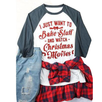 I Just Want To Eat Tacos And Watch Christmas Movies Letter Printed T Shirt Women Harajuku