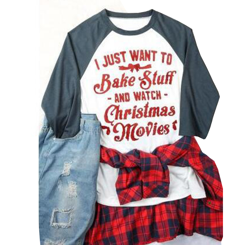 I Just Want To Eat Tacos And Watch Christmas Movies Letter Printed T-Shirt Women Harajuku Funny Gift Long Sleeve T Shirt