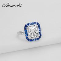 AINOUSHI 3 ct Big Rectangle Cut Simulated Jewelry aneis Blue Halo Engagement Band Ring Romantic anel feminino Design Customized
