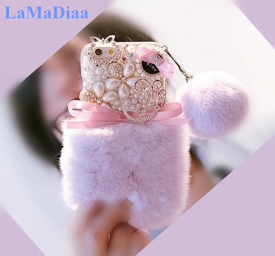 Luxury Warm Fluffy Rabbit Fur Bling Diamonds Pearl jewelry Soft Case Cover For Samung S5 S6 S7 S8 S9 S7edge S9Plus N4 N5 N8 Capa