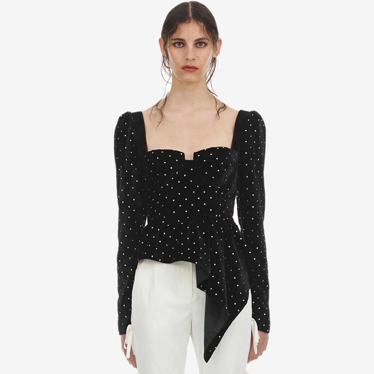 eb238acee246 Jastie Asymmetric Velvet Diamante Top Square Collar Bodice Tops Open Back  with Tie Sexy Women Shirts