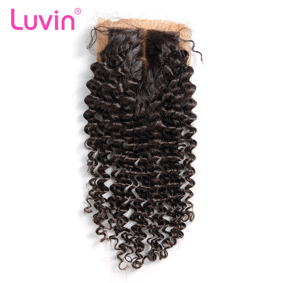 Luvin Malaysian Remy Curly Hair Silk Base Closure 100 Human Hair Middle Part Bleached Knots With