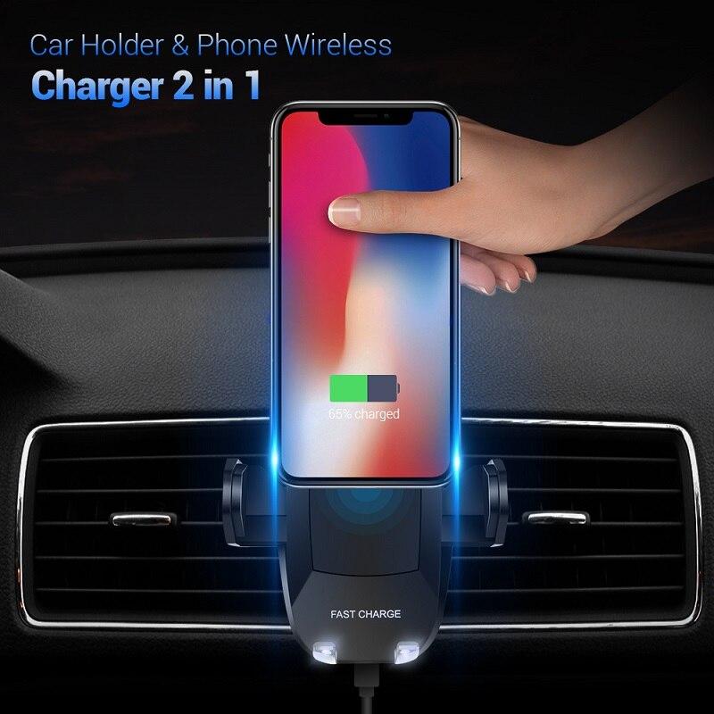 FLOVEME 5 V/2A Qi Wireless Caricabatteria Da Auto Per Samsung Galaxy S9 S8 Plus NOTA 8 360 Rotazione Supporto da Auto Ricarica Per iPhone X 8 Plus