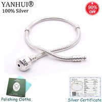 Top Selling 98% OFF! Certified Jewelry Original 925 Solid Silver Bracelet Soft/Smooth Snake Bone Charm Bracelet for Women B00598