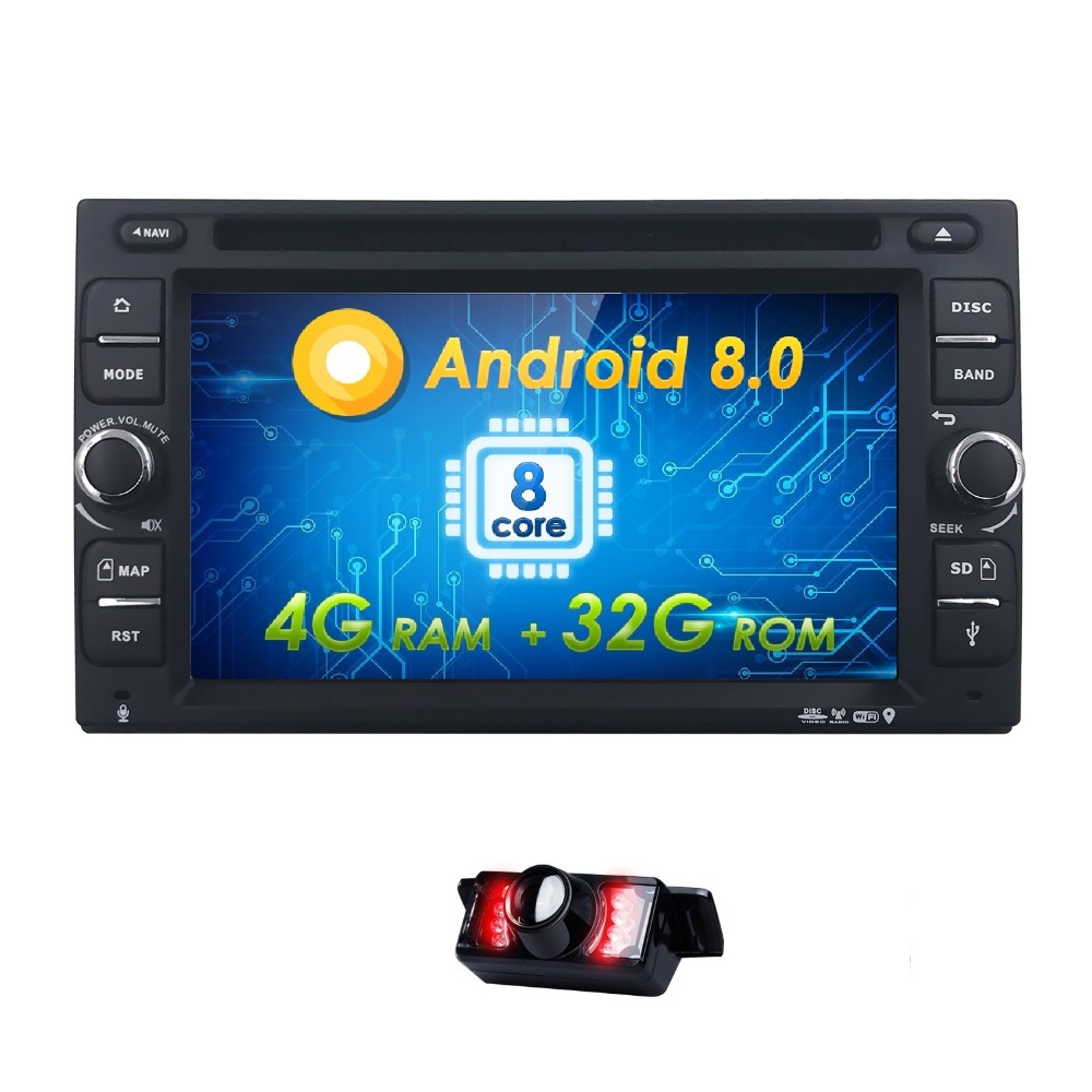 Free Camera Android8.0 8/OctaCore 4G+32G Car GPS 2Din Radio Universal Car DVD Player Monitor Stereo GPS car radio 4G WIFI MAP BT