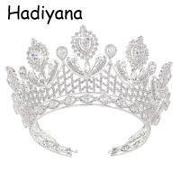 Hadiyana Elegant Flower Cubic Zinconia Crown Princess Bridal Wedding tiara Decoration Headpiece Crowns Hair Accessories HG6014