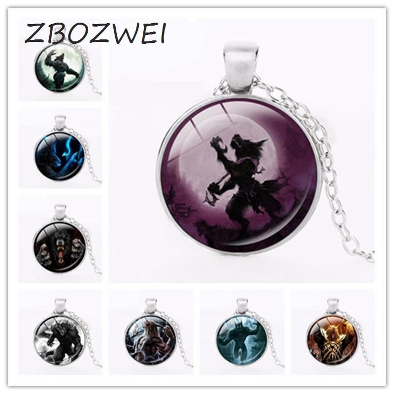 ZBOZWEI Dark Werewolf art Glass Round Dome statement necklace Werewolf pendants jewelry  ...