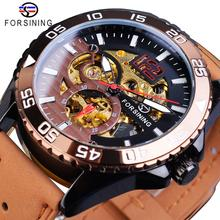 лучшая цена Forsining Brand Mens Watch Automatic Sports Casual Brown Genuine Leather Strap Skeleton Luminous Hands Mechanical Wrist Watches
