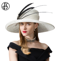 FS FS Sinamay White Kentucky Derby Hats For Elegant Women Big Large Brim Linen Hat With Nature Black Feather Noble Rhinestone