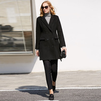Amii Minimalist Women Wool Coats Winter 2018 Causal Solid Pockets Double Breasted High Quality Woolen Jacket
