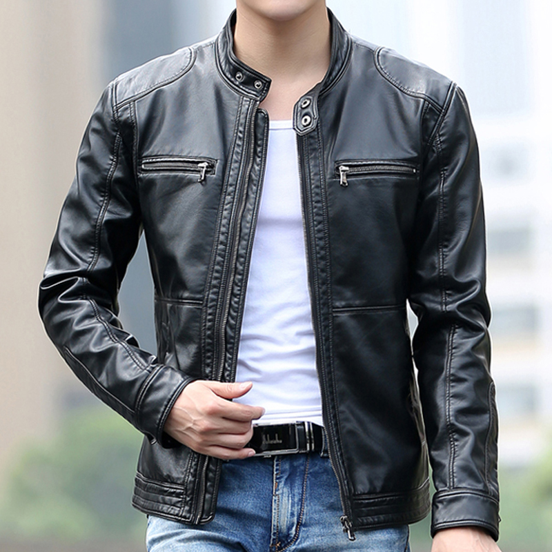 High Quality Leather Jacket Men Stand Collar Zipper Mens Jackets and Coats Motorcycle Leather Jacket Casual Slim Brand Clothing