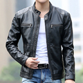 New male genuine leather short slim clothing design stand collar casual motorcycle leather jacket Men casual veste en cuir 5XL
