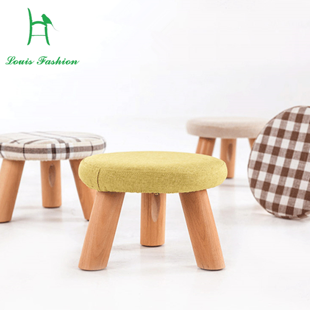 low stool square stool wood footstool can unpick and wash small stool stool cloth art sofa