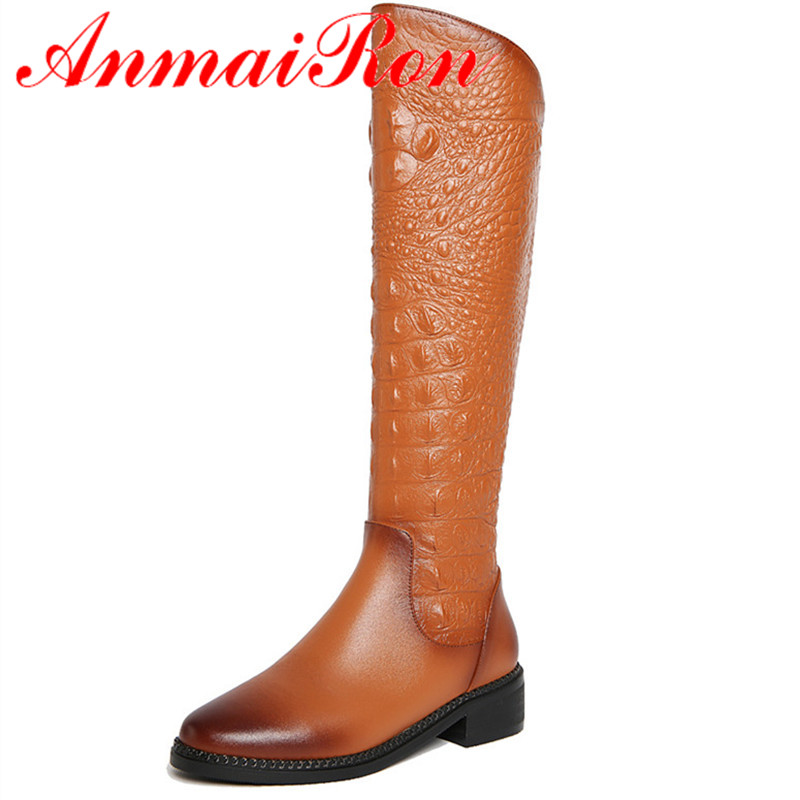 ФОТО ANMAIRON Fashion Women Shoes Knee-high Boots Shoes Black Color Winter Warm Boots Zippers Square Heel Round Toe Boots Shoes