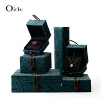 Oirlv Free Shipping Chinese Style Beads Jewelry Box Black Suede Ring Boxes For Jead Stone Gift