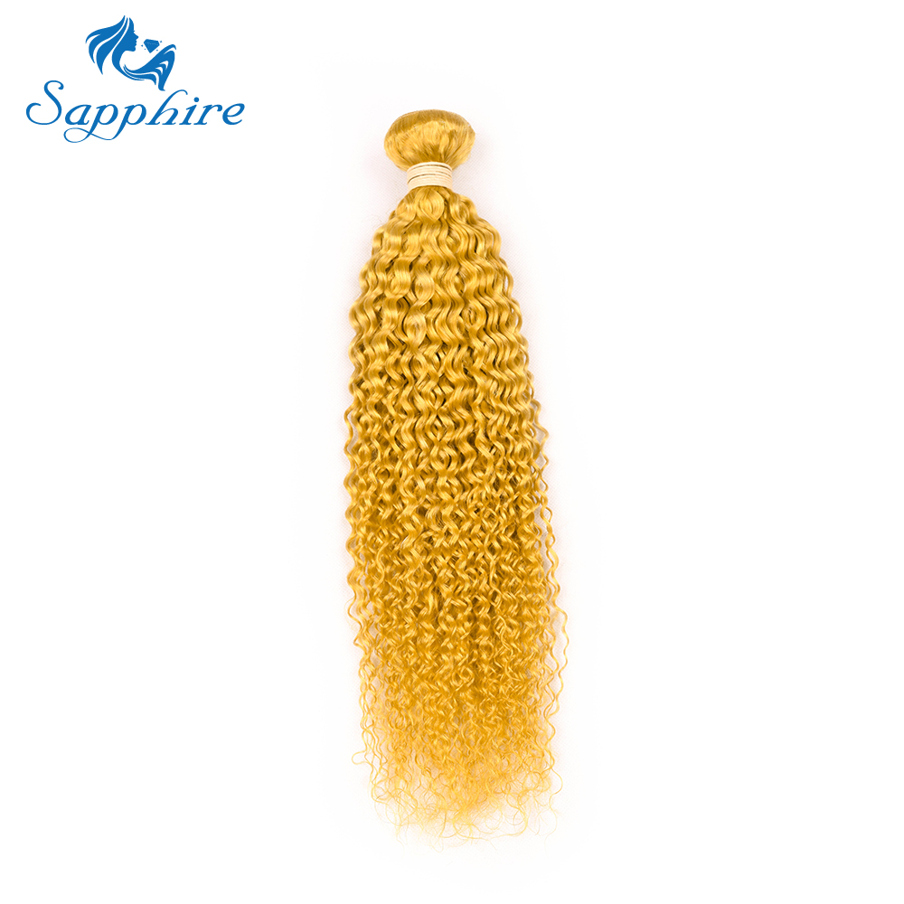 Sapphire Brazilian Kinky Curly Human Hair Extensions 8-28inch Pre-Colored YELLOW Color Human Hair Bundle 1 PCS Weave Bundles
