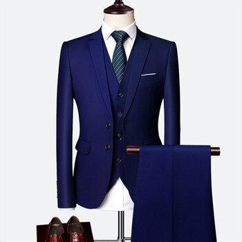 b6de3e8c18b18 Takım elbise takım elbise erkek 2019 ilkbahar ve sonbahar high-end özel iş  blazers üç parçalı/Ince büyük boy çok renkli butik takım elbise