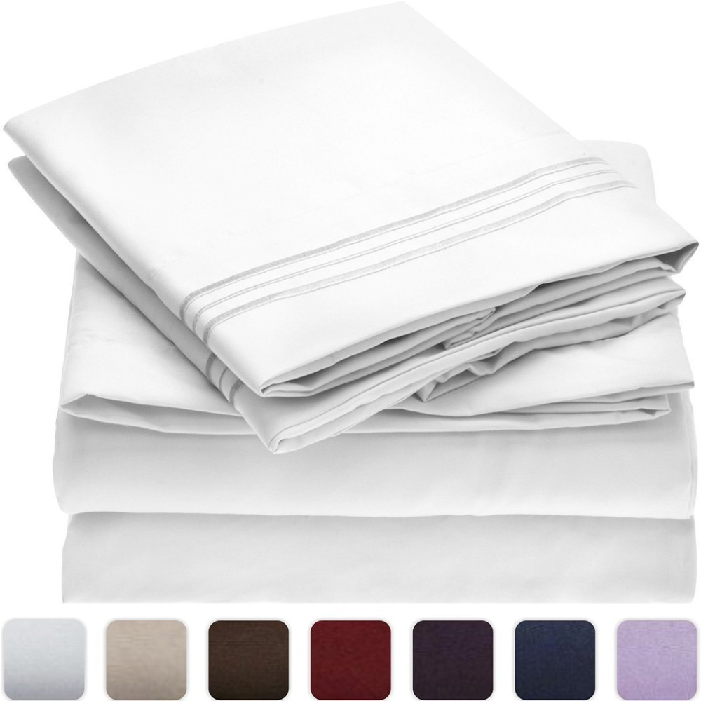 Solid Bed Sheet Set Brushed Microfiber 3 or 4 Piece (Flat Sheet Fitted Sheet Pillowcase) USA Twin Full Queen King Cal King Size