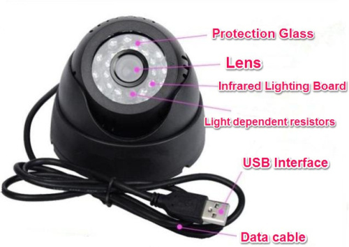 Night Vision USB Motion Detection Home Security DVR Dome Camera with TF Card Support Loop Recording Night Vision USB Motion Detection Home Security DVR Dome Camera with TF Card Support Loop Recording