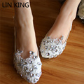 Luxury Women Wedding Shoes Handmade Lace Crystal Rhinestone Slip-on Dress Party Shoes Low Top Heels White Bride Flats Shoes