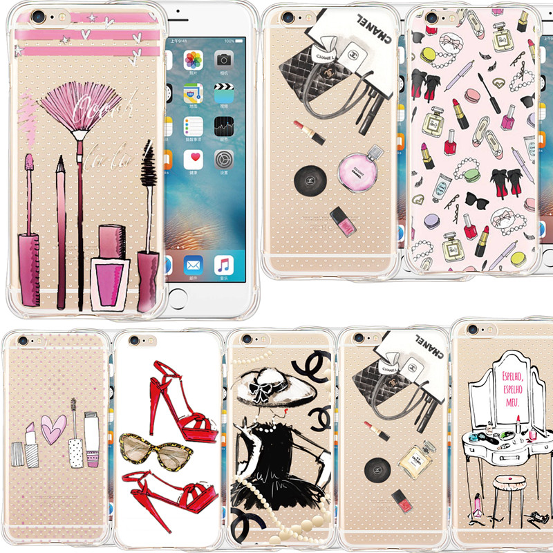 Fashion Makeup Tools Lipstick Printing Anti-knock Phone Case Cover For iPhone 5 5s SE 6 6s plus Soft Transparent Silicon Capa