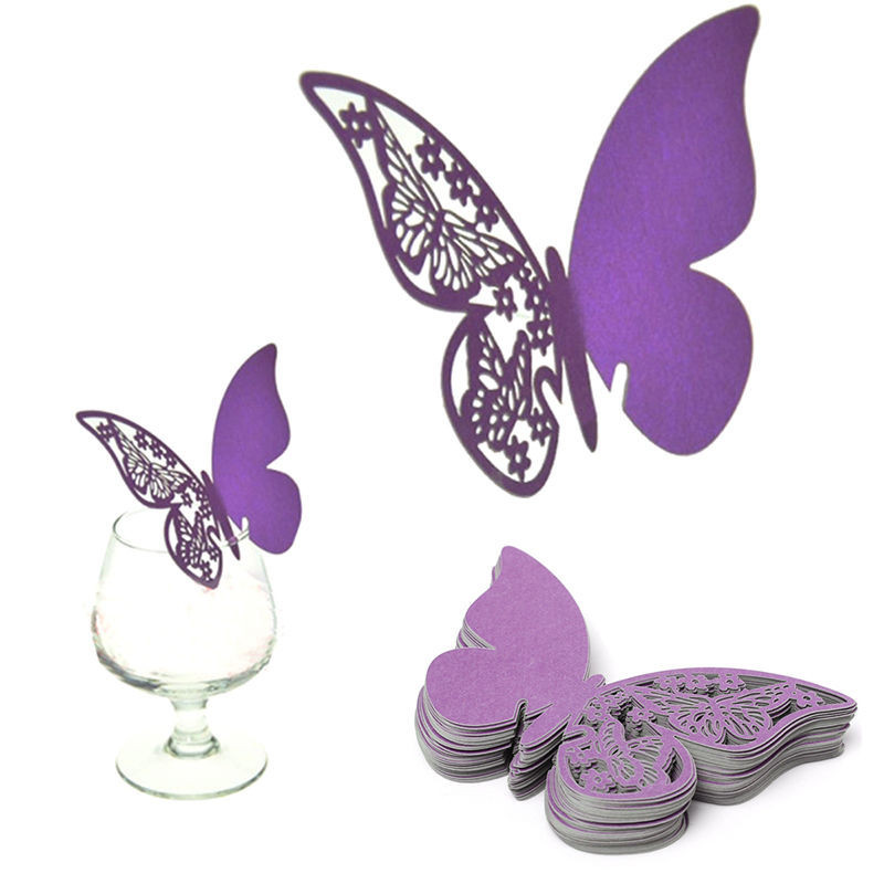 Image 5 - 50pcs White Blue Pink Purple Name Cards Butterfly Place Escort Wine Glass Cup Paper Card for Wedding Party Home Decorations-in Party DIY Decorations from Home & Garden