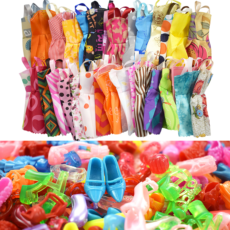 15 Item/Set Barbie Accessories=10 Pcs Mix Sorts Beautiful Barbie Clothes +5 Shoes Fashion Party For Barbie Doll Kid Gift Toys new 20 pcs set handmade party 12 clothes fashion mixed style dress 8 pair accessories shoes for barbie doll best gift girl toy