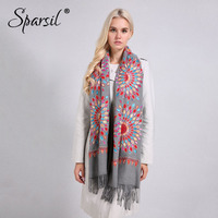 Sparsil Women Quality Soft Cashmere Scarves Sun Flower Embroidery Warm Long Shawls Winter Knitted Scarf All