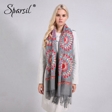 Sparsil Women Quality Soft Cashmere Scarves Sun Flower Embroidery Warm Long Shawls Winter Knitted Scarf All Match Pashmina Wrap