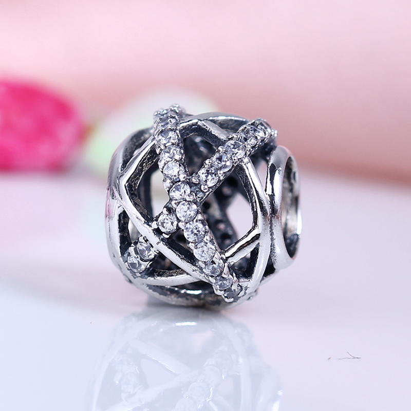Authentic 100% 925 Sterling Silver Fit Original Pandora Bracelet Openwork Galaxy CZ Charm Beads for Jewelry Making