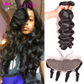 Top Loose Wave Bundles With Frontal,Ear To Ear Lace Frontal Closure With Bundles Human Hair,Soft Peruvian 4 Bundles With Closure