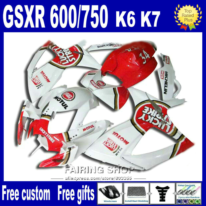 Injection Motorcycle bodywork <font><b>fairing</b></font> <font><b>kit</b></font> for suzuki <font><b>gsxr</b></font> <font><b>600</b></font> 2006 2007 white red gsxr750 06 <font><b>07</b></font> <font><b>fairings</b></font> nv64 image