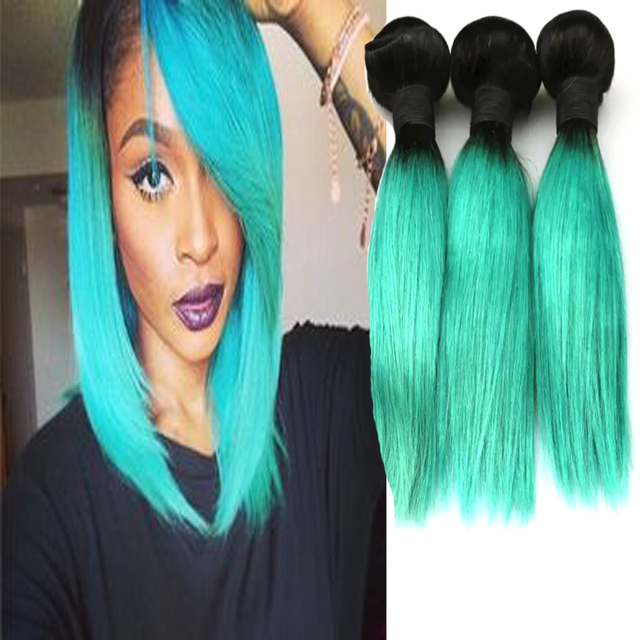 7a Black To Blue Ombre Hair Pretty Teal Brazilian Hair Weave Bundle