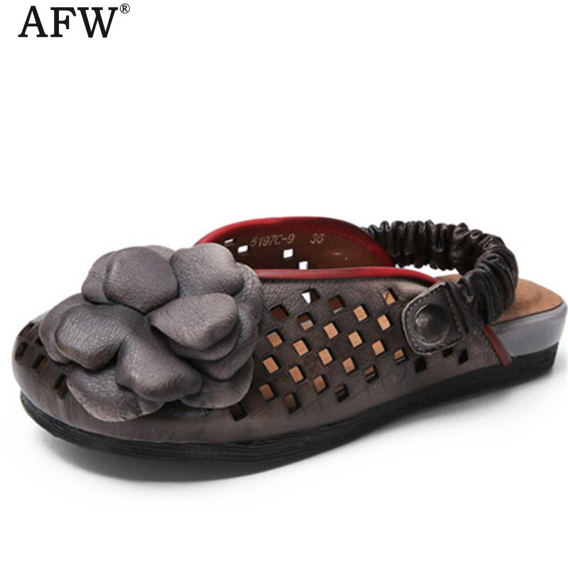 AFW Retro Women Genuine Leather Sandals Flower Hollow Out Slip On Leather Shoes Summer Slippers Handmade Women Sandal Brand new summer slipper women slippers slides women sandals slippers word h hollow out women single sandals non slip fashion