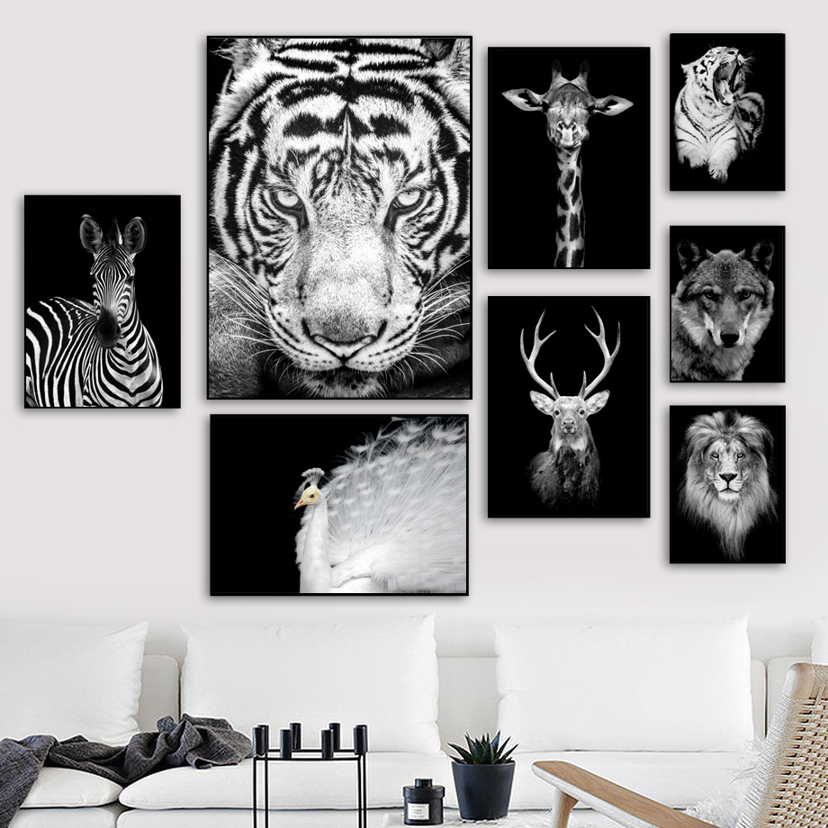Tiger Lion Deer Wall Art Canvas Painting Nordic Poster And Print Animal Wall Pictures For Living Room Scandinavian Home Decor