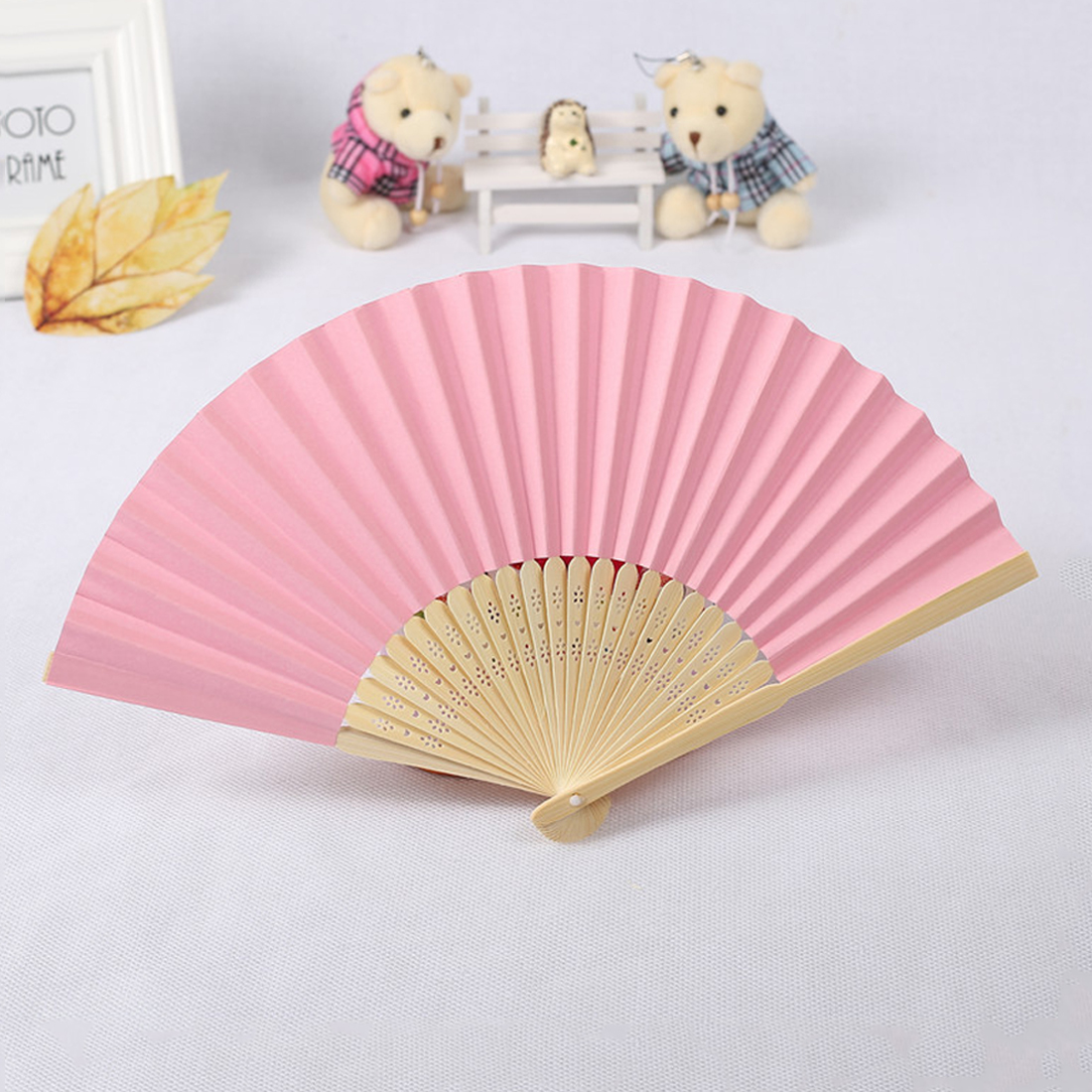 Useful Chinese Hand Paper Fans Pocket Folding Bamboo Fan Wedding ...