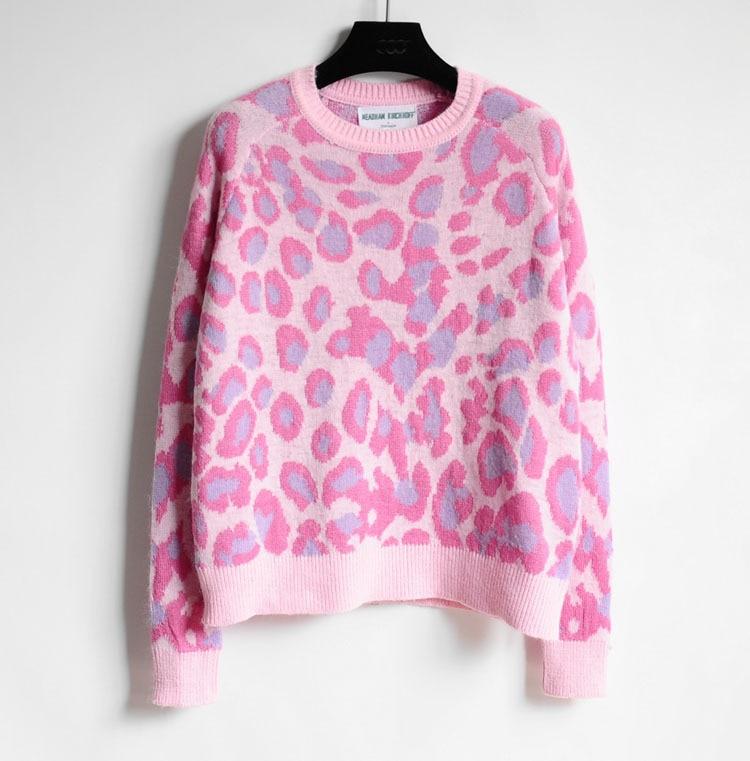 2015 Hot Sales Korean Sweet Girl Pink Leopard Sweater For Women ...