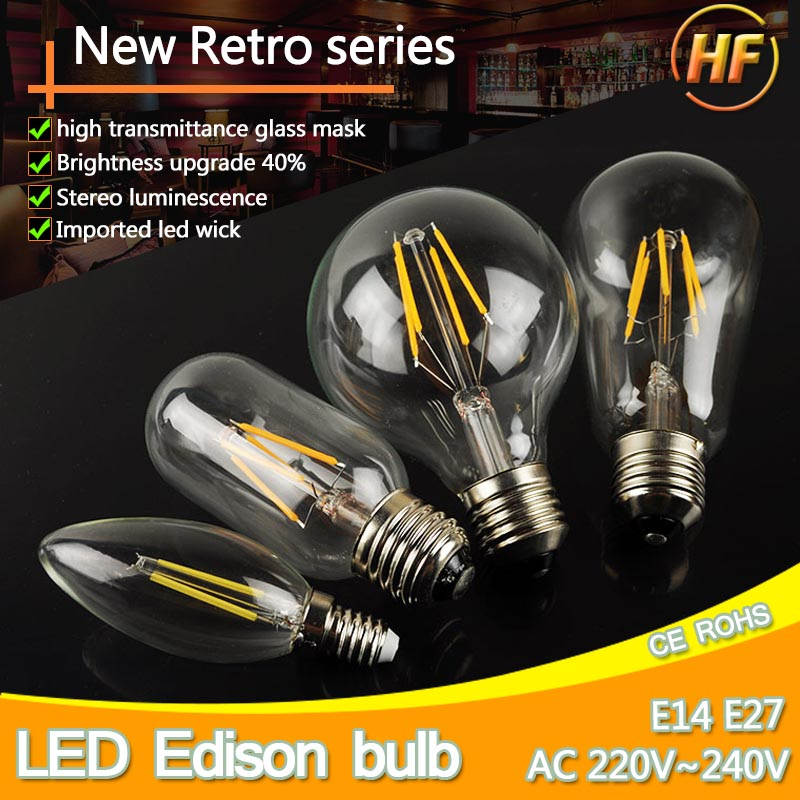LED Edison Bulb E27 LED Lamp E14 220V Antique Retro Vintage Filament Light Glass Bulb 4w 6w 8w 12w Candle Lamparas Bombillas high brightness 1pcs led edison bulb indoor led light clear glass ac220 230v e27 2w 4w 6w 8w led filament bulb white warm white