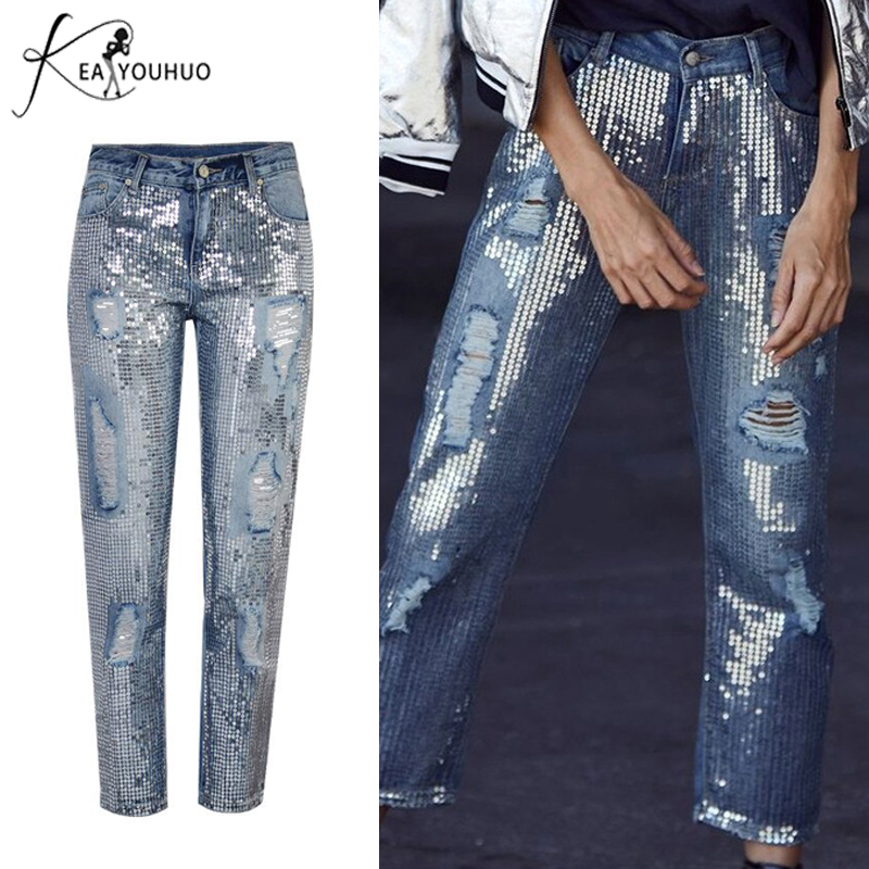 2019 Summer Pants Women Retro High Waist Pants Woman Denim Sequins Boyfriend Jeans Pants Female Ripped Jeans For Women Trousers