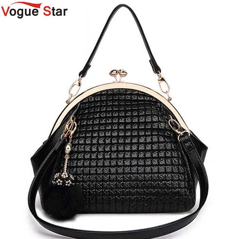 Vogue Star 2017 New Fashion luxury women handbag shoulder bag PU leather Black seashell bag famous designer messenger bag LA208