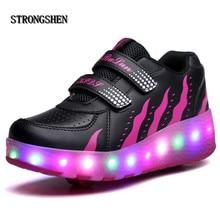 STRONGSHEN Black Cheap Child Fashion Girls Boys LED Light Roller Skate Shoes For Children Kids Sneakers With Wheels One wheels