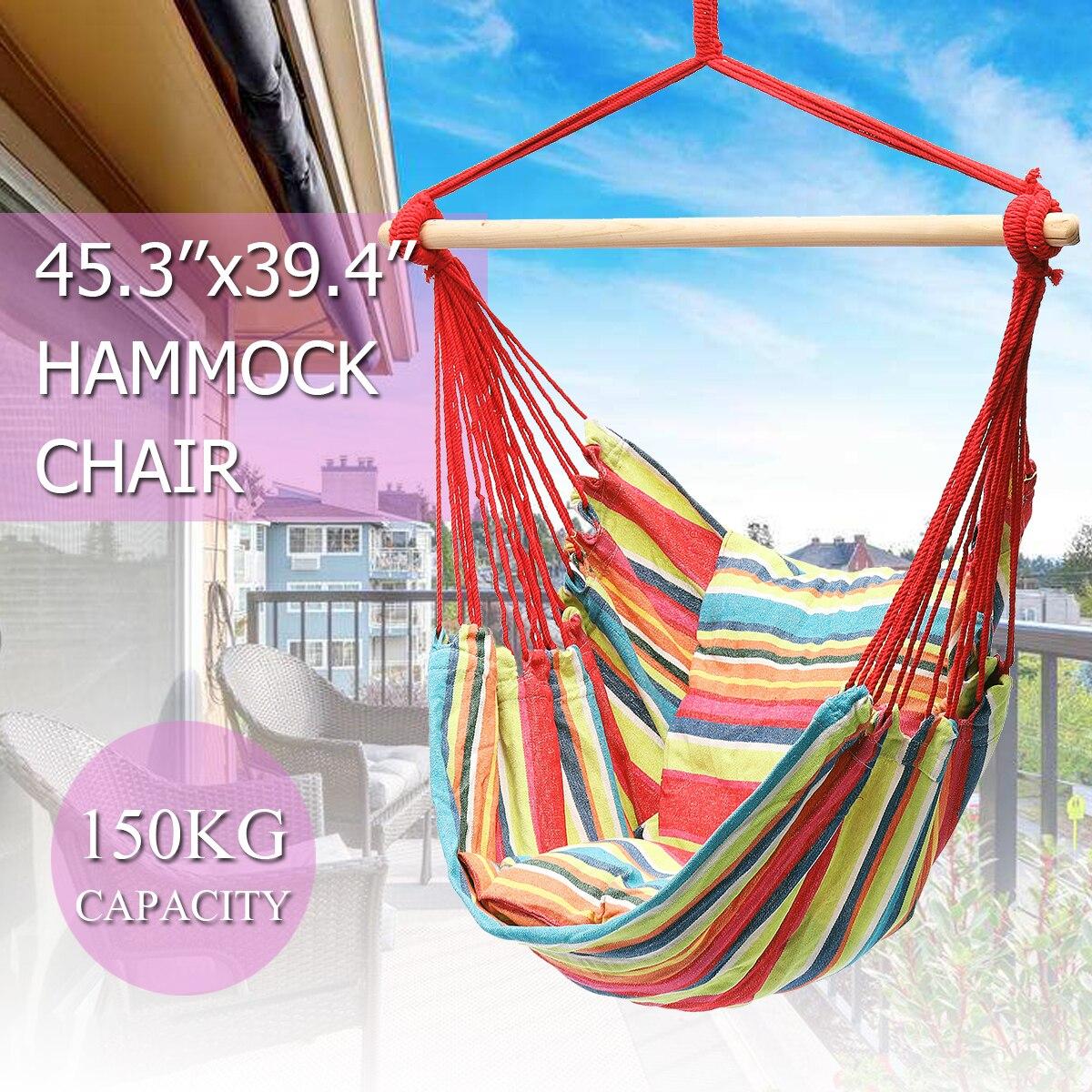 Indoor Outdoor Furniture Canvas Hammocks Chair Fashion Hanging Swinging Chair Dormitory Garden Swing + 2 Pillows Hammock Camping modern hammocks outdoor hammock chair