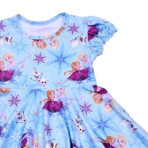 Image 2 - Karikatür Karakter Baskı Çocuk Giyim Kısa Kollu Önlük Frocks Kızlar Burgu Elbiseler Çocuklar Mavi Parti Twirl Elbise Milksilk