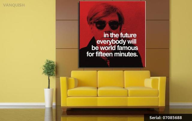 VANQUISH Fifteen Minutes By andy warhol POP Art Print poster on ...