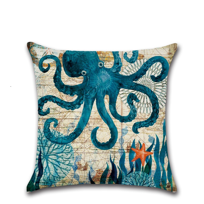 Image 2 - CAMMITEVER Cotton Linen Pillow Cover Seaworld Octopus Sea Turtle Hippocampus Cushion Cover Home Decorative Pillow Case Blue-in Cushion Cover from Home & Garden