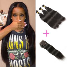 Malaysian Human Hair Weave And Closure Bundle 3 Pcs Malaysian Straight Hair Extensions With Lace Closure Free Shipping(China)